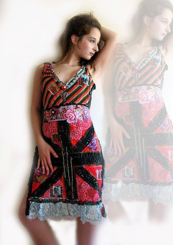RESERVED. Lucky London Dress, English Rose, Bohemian Dress, Red, Green, Reggae, Union Jack, Eclectic Clothing, Punk Rock, Boho