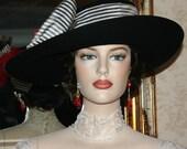 "Edwardian Hat Downton Abbey Hat Titanic Hat Tea Party Hat ""Lady Olivia"" Black Tea Hat"