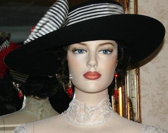 Edwardian Hat Kentucky Derby Hat Ascot Hat Downton Abbey Hat Titanic Tea Party Hat - Lady Olivia - Wide Brim Hat Womens