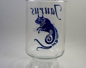 Vintage Taurus Glass - Retro Horoscope Drinking Glass- 1970's Kitsch Astrology - Blue