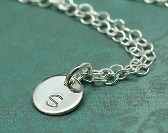 Initial Here - Hand Stamped Custom Font Letter Necklace