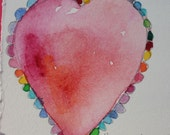 "Original watercolor painting rose pink magenta purple colored hearts  ""HEART ATTACK ""  OOAK  abstract romantic valentines"