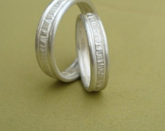 Set of Simple Sterling Bands - 6mm wide - Soft Satin Matte Finish - Also available in a blackened finish