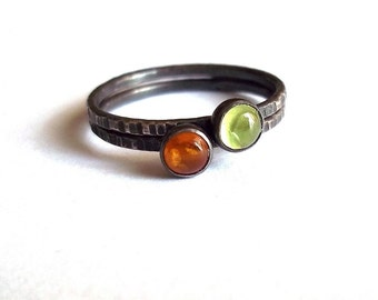 Apples and Honey Tiny Stacking Set - Sterling and Fine Silver - Dainty Gemstone Stackers - Amber and Peridot