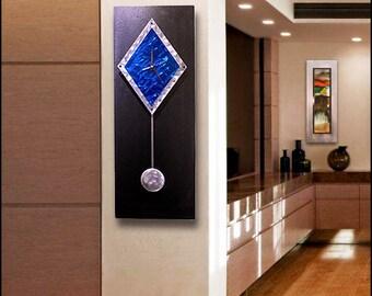 Blue & Black Metal Wall Clock - Abstract Functional Art - Wall Accent - Home Decor - Pendulum Clock -  Sapphire Paramount by Jon Allen