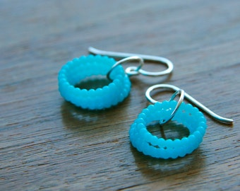 turquoise blue coil earrings (vintage plastic. sterling silver wire)