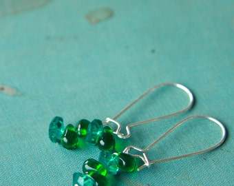 green chip dangle earrings (teal and emerald green glass. silver plated kidney ear wires)