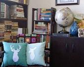 Buck Head Deer Pillow - Custom Color - Sea Green with White
