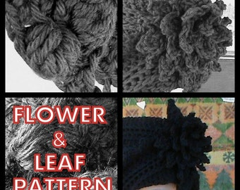 Crochet Pattern Crochet Flower, Flower and Leaf Pattern