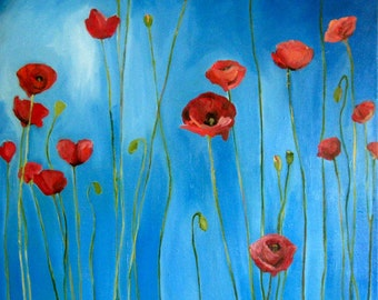 SALE - Blue Sky Poppies- Large Print of original oil painting