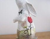 White Rabbit Sculpture , Altered Art Rabbit Figurine , Animal Sculpture , Mixed Media Collage Sculpture , Whimsical Art