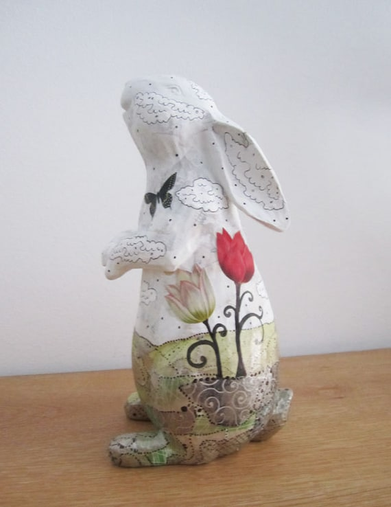 White Rabbit Sculpture , Altered Art Rabbit Figurine , Animal Sculpture , Mixed Media Collage Sculpture , Whimsical Art