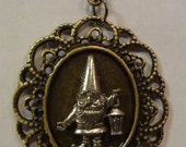 "Victorian Steampunk ""Gnome Sweet Gnome"" Handmade Lawn Gnome Necklace"