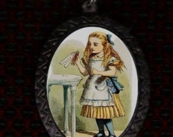 Alice in Wonderland Drink Me Necklace Vintage Gothic Lewis Carroll Pendent New