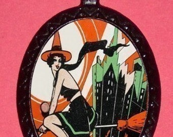 ART DECO Witch Pendant Necklace Pinup Gal Classic Retro Vintage New