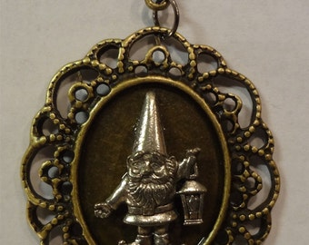 "Victorian Steampunk ""Gnome Sweet Gnome"" Handmade Lawn Gnome Necklace"