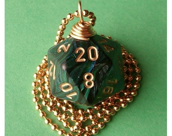 D20 Die Pendant -  Scarab Jade - Geek Gamer DnD Role Playing RPG - Paw & Claw Designs