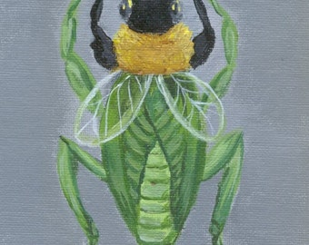 Imaginary Insect, Bumble Mantis, original acrylic painting weird biology 5 x 7 surreal entomology art psychedelic specimen