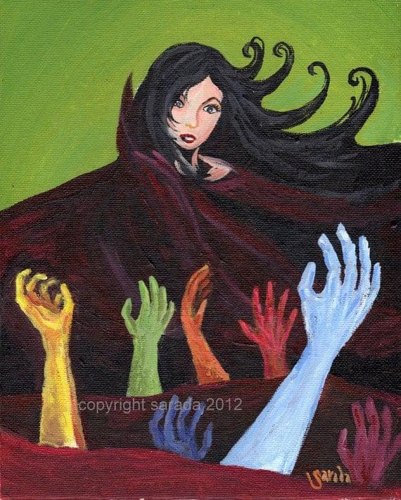 Gothic psychedelic horror art, rainbow hands, vampire woman original 8 x 10 acrylic painting surreal decadent retro style pulp art