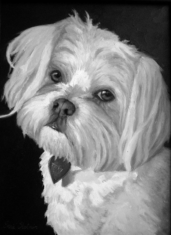 maltese painting maltese custom pet portrait maltese painting pet 2265