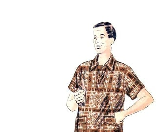 50s Hawaiian Shirt pattern Vogue Mens sport shirt pattern 42-44 16.5 camp shirt madmen vogue 6843