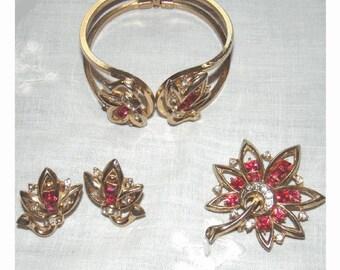 Mid Century Pink Rhinestone Lotus Blossom CLAMPER Bracelet - BROOCH - EARRINGS - Very Unusual Vintage Parure