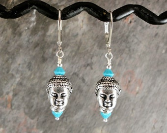 Buddha earrings, turquoise blue, handmade with pewter and crystal, Nirvana, Tpmb