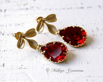 Wedding Earrings Bridesmaid Red Earrings, Bridal Jewelry, Wedding Party, Red Bridesmaids Earrings -  Siam Swarovski Crystal Earrings - E108