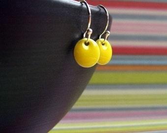 Yellow Itty Bitty Dot Earrings, Womens Jewelry, Girls Jewelry, Small Earrings, Dangle Earrings, Yellow Jewelry