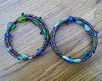 Two bracelets - green, blue, purple glass beds, some irridescent  Fits any wrist -  etsyBead, WWWG, OlympiaEtsy,FunkyAlternatveJewelry