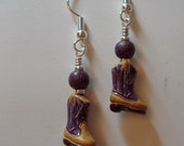 Small Hand Painted Cowboy Boot Ceramic earrings Purple and Tan on Silver