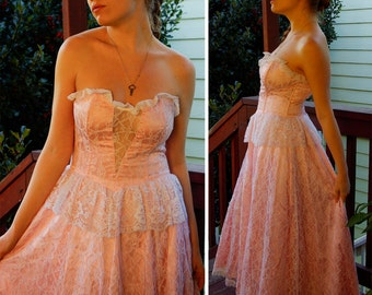 Material GIRL 1980's Vintage GUNNE SAX Strapless Pink White Lace Gown with Sexy Sheer Bust