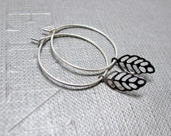 Tiny Leaf Silver Hoop Earrings // Silver Tiny Leaves // Fall Jewelry // Gift under 10