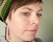 Earthy Slouchy Beanie in Oatmeal, Cocoa Brown, and Grass Green Stripes for Adults - Urban Hipster Hippie Crochet Beret