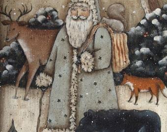 Woodland Santa Sled. A DIY Country Christmas Folk Art Painting E-Pattern. Deer, Bear, Fox.