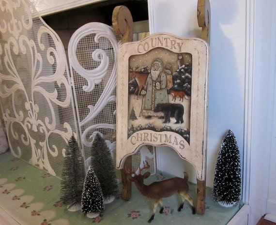 Woodland Santa Hand Painted on Wood Sled, Rustic Distressed Country Christmas Folk Art Decor by Donna Atkins, Magazine Cover