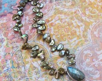 Golden Green Keshi Pearl Labradorite Sterling Silver Necklace DJStrang Cottage Chic Boho Gemstone Color Flash Briolette