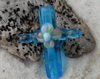 Lampwork Cross Flower Artisan Handmade Blue, SRA LETEAM Glassymom
