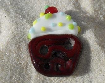 Lampwork Button Cupcake 2 Hole Button, Artisan  Handmade Glass Button SRA LETEAM Glassymom