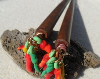 Lampwork Hair Sticks, Red Hot Chili's, Wood Hair Sticks Handmade SRA LETEAM Glassymom