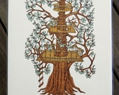 Woodcut Print, Woodblock Print, Treehouse Lookout by Tugboat Printshop