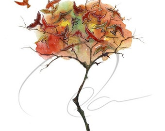 Rising Fall - Watercolor Art Giclee Print Autumn Tree Colorful Leaves Bird Landscape Painting Available in Paper and Canvas by Olga Cuttell