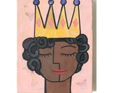 Fairy Princess Art - She is princess every day, African American Girl Art, Mixed Media Collage Art, wall art, childrens decor, artwork