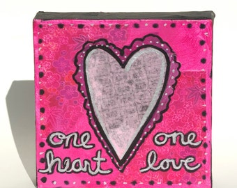Pink Heart Art - Mixed Media Collage Painting - One Heart, One Love - Anniversary, Wedding or Valentine's Day Gift