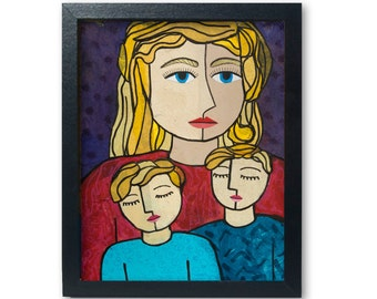 Mother of Two Boys Art Print - Mother Sons, Blond Mother Art, Gift for Mom, Family Portrait Print, giclee, whimsical, wall art decor