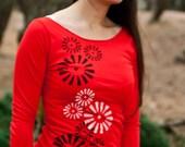 Graphic tee for women - S-L, womans tops tshirts, silkscreen womens t-shirt, womens tees, tops & tees, red 3/4 sleeve tshirt, pinwheels