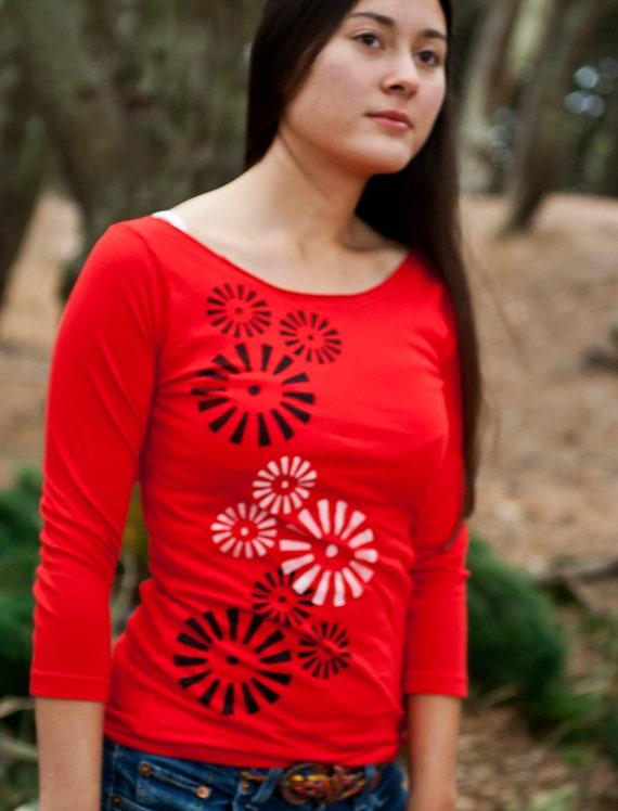 Graphic tee for women, womans tops tshirts, silkscreen womens t-shirt, womens tees, tops & tees - S-XL, red 3/4 sleeve tshirt, pinwheels