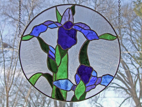 Nature Inspired Glass - Stained Glass Irises Panel - Unique Home Decor - Antique Glass