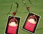 GUINEA PIG Christmas Holiday PHOTO Earrings - Handmade Acrylic Charms Red Crystal & Silver Wire Wrapped