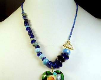Asymmetrical Blue Murano Heart GUINEA PIG Beaded Necklace